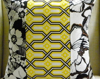 Pillow Cover - Vintage '70s Floral Patchwork - White, Black and Yellow - 18 x 18