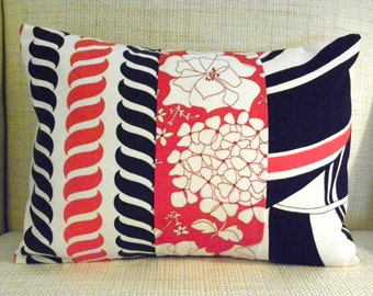 Throw Pillow Cover - Vintage Red, White and Blue Nautical Patchwork - 12 x 16