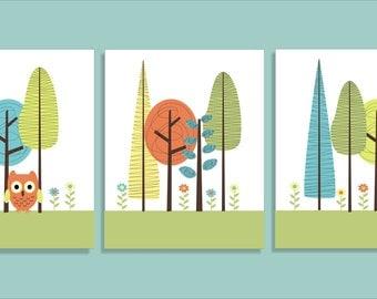 Tree, Treehouse, Kids Bathroom Art Prints, Children's Art Prints, Nursery Wall Art- inspired by Target- Set of three 11x14
