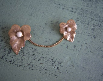Sarah Coventry Sweater Leaf  Pin Brooch with Pearls