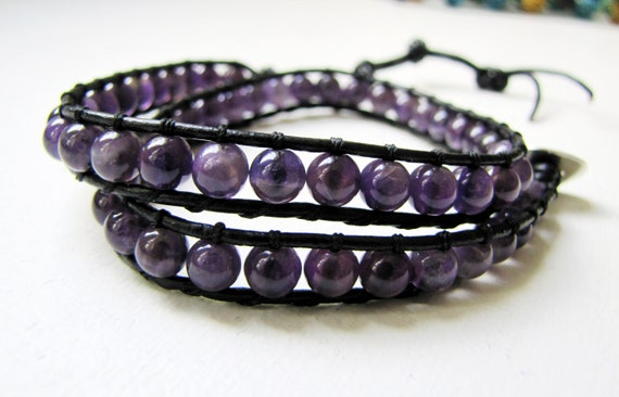 """BRACELET : Very Artistic Round Natural Amethyst  Beads Black Leather  2 Times Wrap 13.5""""  Silver Button Clasp Bangle"""