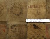 12 Antique Grain Sack Scrapbook Papers  12x12 Download digital files