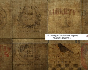 12 Antique Grain Sack Scrapbook Papers  12x12 Download digital files