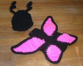 Hot Pink Butterfly cuddle cape photo prop - - TupeloHoneys