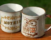 Pair of vintage stoneware mugs... RETRO... Mother and Owl
