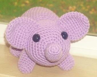 Large Amigurumi Elephant - Light Purple Orchid Hand Crocheted Elephant with Safety Eyes