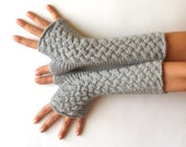 Wool Fingerless Mittens Gray Fingerless Gloves Grey Arm Warmers Warm Women's Hand Warmers Cable Fingerless Gloves Braided Mitts - KG0026
