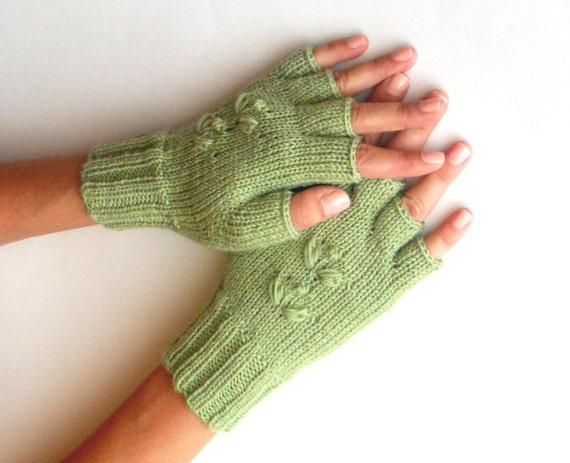 Knit Half Fingers Gloves Pistachio Green Fingerless Gloves
