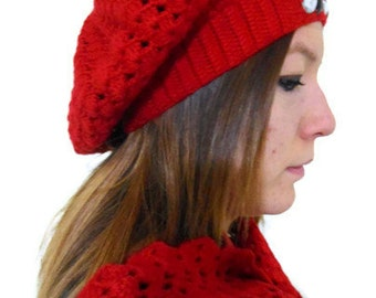 valentines day,hat & scarf ,fashion,gift,autumn,Women,winter,Red, beanie