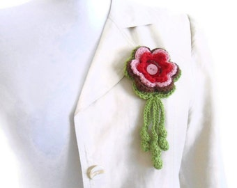 Crochet flower brooch pin, hand-made,fashion,unique gift