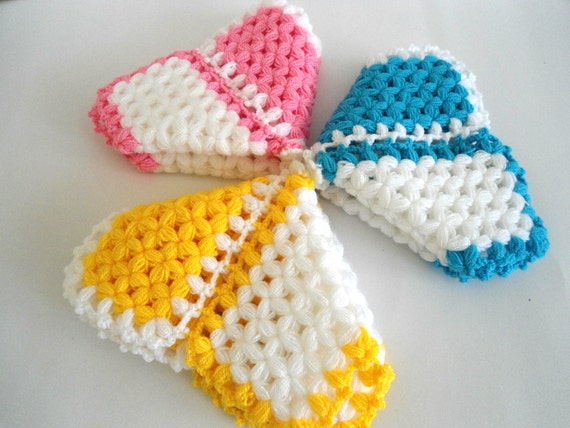 Set of 3 Handmade  Crochet Dishcloths Washcloths, gift, mothers day, yellow, pink, blue, unique