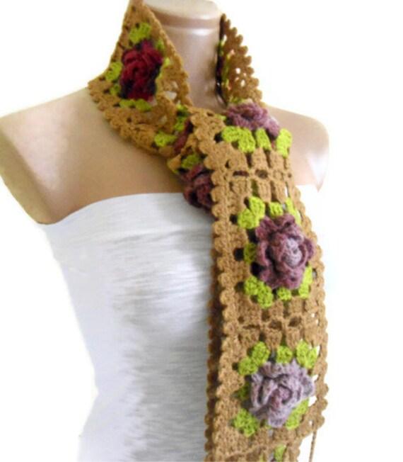 Crochet Scarf Flowersscarves 2013 Trends Unique Scarves