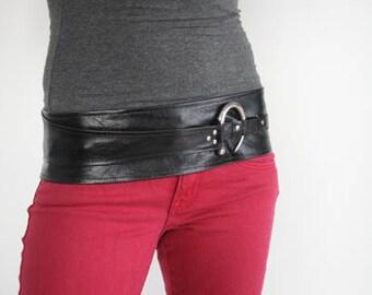 Womens Black Leather belt, wide belt with buckle, wrap belt.  B2  X Small - Medium