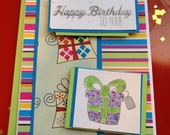 Handmade happy birthday with presents card