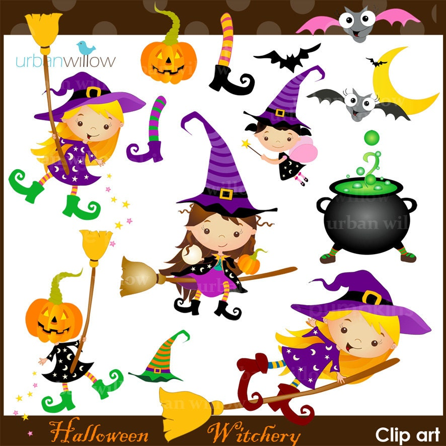 HALLOWEEN Clipart, Clipart Witches, Cute witches, Clipart ...