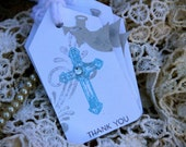 Angel Baptism Wish Tags Gift  Favor Tags - Vintage white Blue Angel tags set of 25