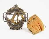 Vintage Baseball Glove and Catcher's Mask