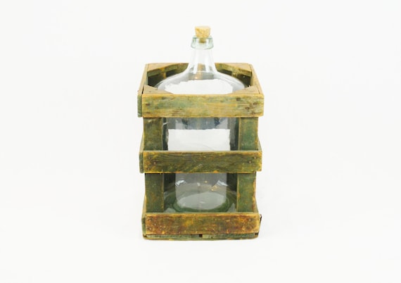 Antique Carboy Glass Jug with Original Cork and Crate
