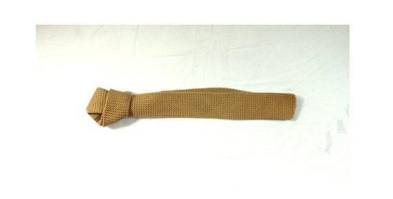 skinny tie / Retro Man vintage Khaki Tan Stripes Skinny Knit Tie made in England