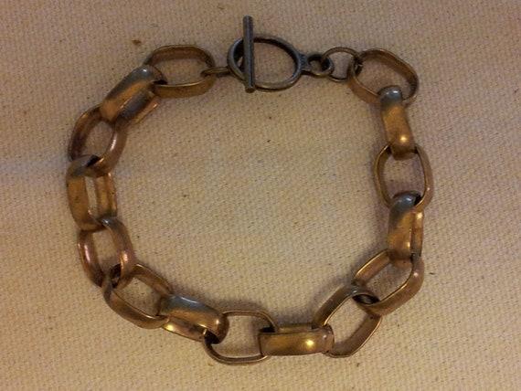 Chunky brass bracelet. free shipping.
