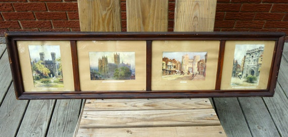 vintage yard long 1910 E.W. Haslehurst Canterbury England oak framed 4 scenes under glass