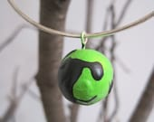 Lime and Black hand painted sculpted clay bubble bracelet, thin metal bangle bracelet, gift for her