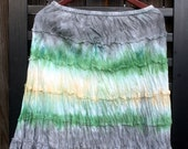 Clearance - Ruffled skirt - Grey, Green and Yellow Tie Dye (Womens Large)