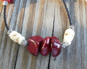 Burgunday and Carved Bone Necklace--17""