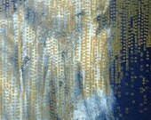 """Abstract Fine Art Print/ Home Decor in Navy and Yellow Ochre: Terrain 76 ...7"""" x 7"""" Print Size"""