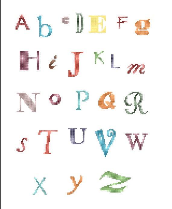 Modern Cross Stitch Baby Alphabet Typography Nursery Decor