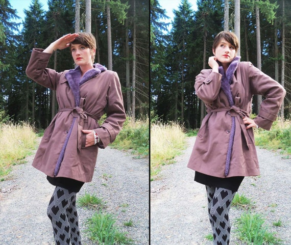 70s MAUVE MANEUVER Belted Winter Coat with Lilac Faux Fur, Small