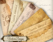 Five Postcard Envelopes instant download printable digital collage sheet VD0033