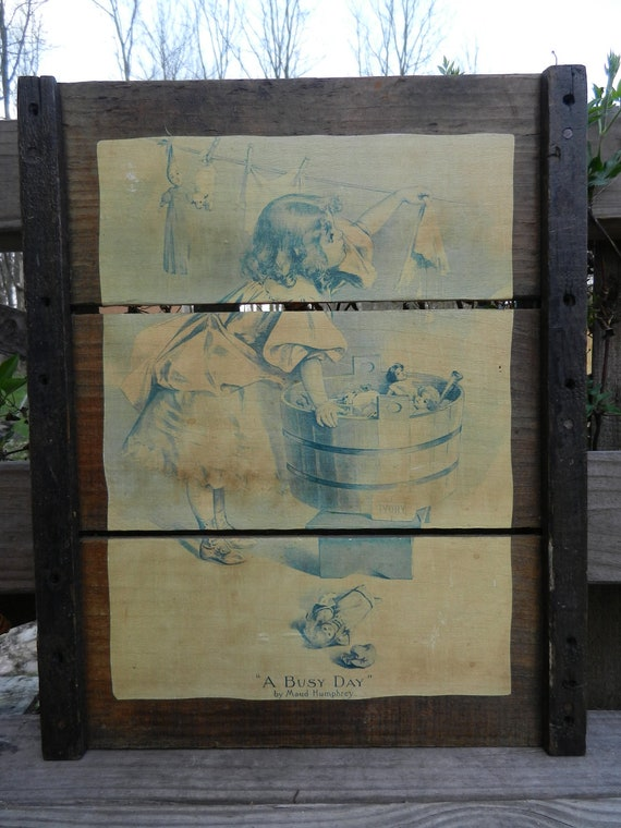 """Vintage barn wood frame w/ """"A Busy Day"""" by Maud Humphrey paper decoupaged wire hanger"""