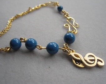 Bridesmaid Bracelet, Lapis Blue, Gold Treble Clef, Music note, Personalized , Gold Bracelet, Wedding jewelry, Flower Girl gift