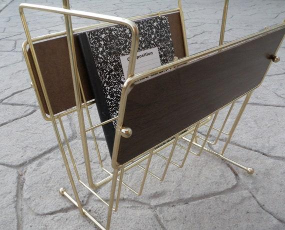 Vintage Magazine Rack Retro Mid Century Gold Tone & Wood Panel