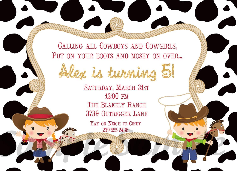 Cowboy Birthday Invitation with awesome invitation design