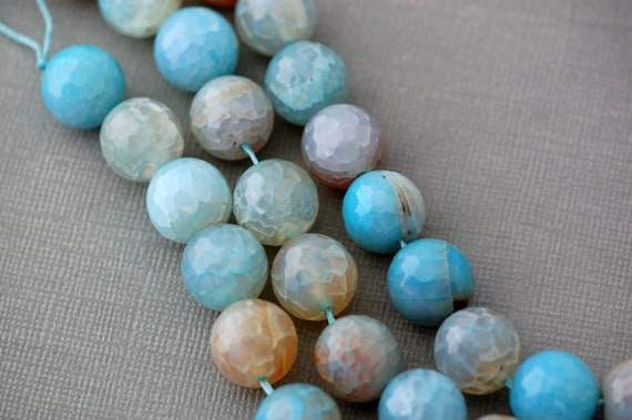 "8"" Strand Polished Round BLUE CRACKED AGATE Beads . 14mm . genuine gemstones . faceted blue green"