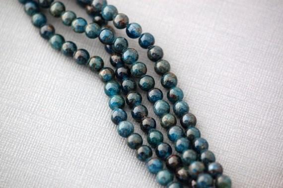 "8"" Strand Polished APATITE Round Beads . 6mm . genuine gemstones"