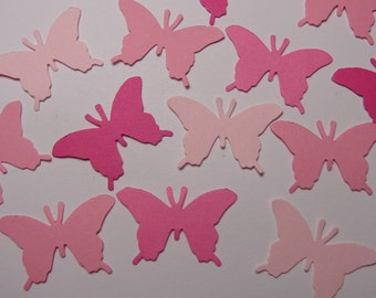 100 Mixed Pink Butterfly Paper Punches Die Cuts Scrapbooking Embellishments Confetti