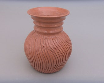 Terracotta Ceramic Vase - Small and Simple Earthenware Pottery