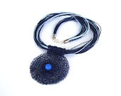 Dark blue crochet wire necklace / blueberry necklace / modern necklace / contemporary / one of a kind