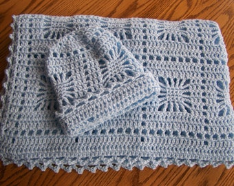 SALE-Crocheted Spiderweb Baby Afghan and Hat Set