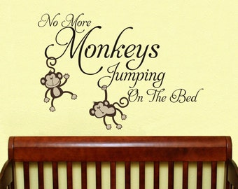 Large No more Monkeys jumping on the bed  design decal  Monkey Jungle Friends