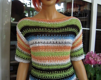 SOLD sweater handmade knitted multicolor sweater/eco friendly top in cotton gift idea  for her size M/L women clothing  OOAK by golden yarn