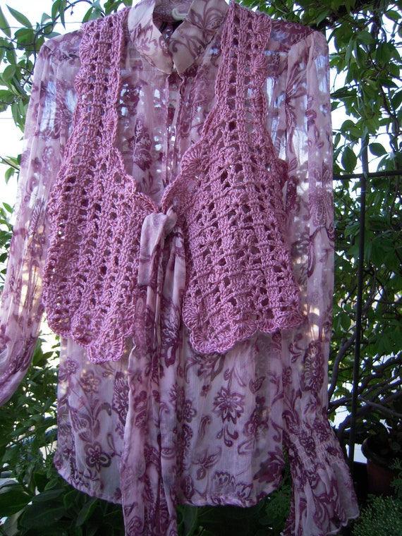 Recycled silk Mango tag shirt,boho blouse,hippie top,festival blouse  in purple OOAK ready to ship for her size marked XL by golden yarn