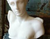 Vintage White Porcelain Figurine Bust of Greek God Hermes