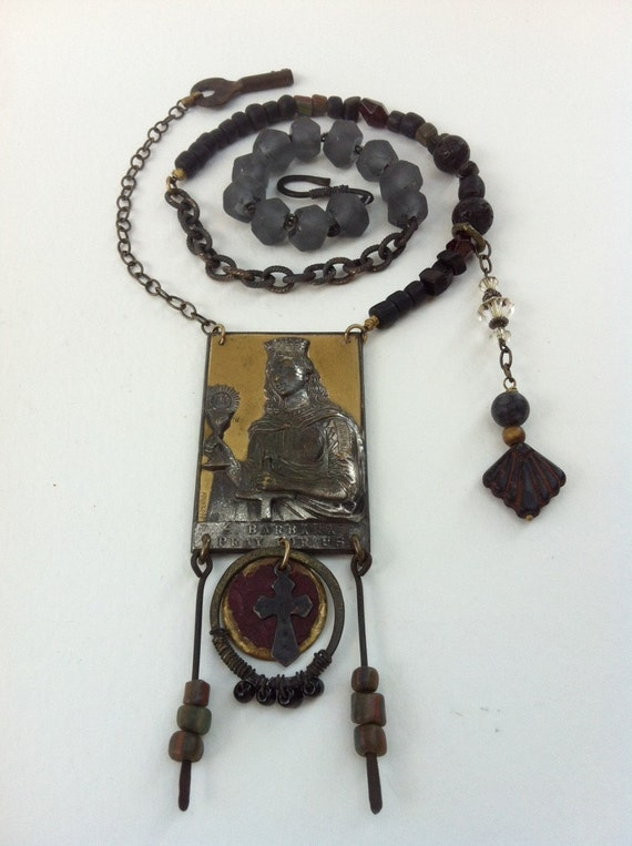 Holy Saint Medal Religious Assemblage Necklace St. Barbara Pray for Us