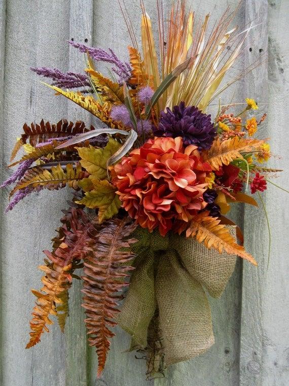 Fall Wreaths, Autumn Floral Wreath, Hydrangea, Thanksgiving, Fall Woodland Bouquet
