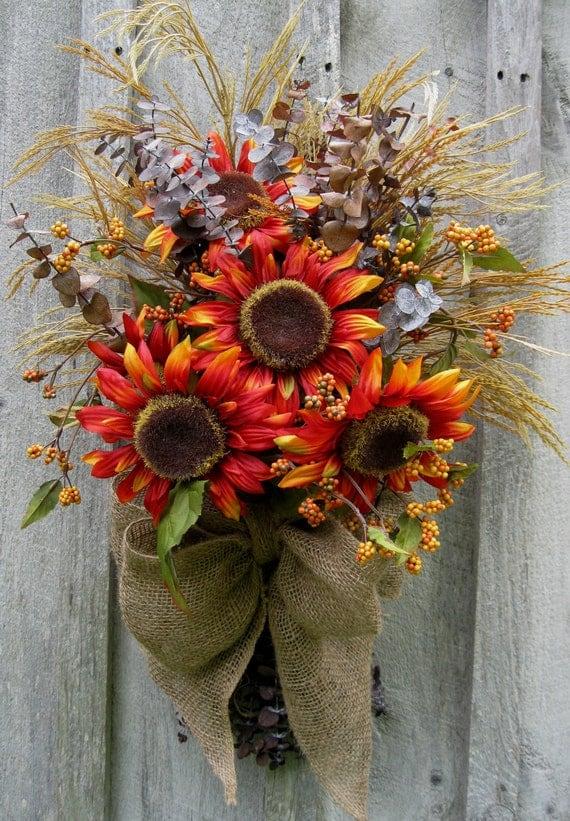 Fall Wreaths, Sunflowers, Autumn Floral Wreath, Tuscany Decor, Woodland Swag