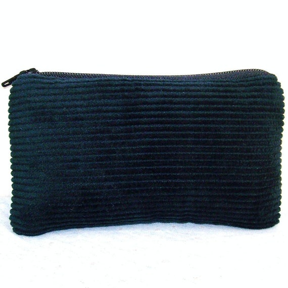 Solid Black Corduroy Padded Pipe Pouch 5.5""